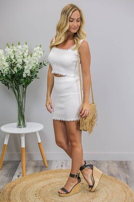 Macy Lace Mini Skirt - White