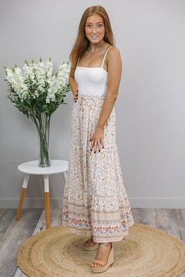Anastasia Trim Maxi Skirt - White/Blue Fleur