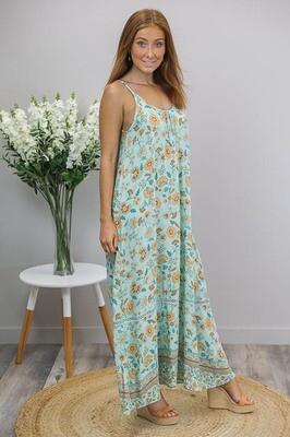Sandra Singlet Maxi Dress - Mint/Orange Fleur