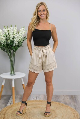 Jingles Crochet Trim Tie Shorts - Natural Linen Blend