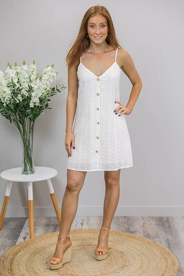 Cookies And Cream Button Singlet Dress - White Embroidery Anglaise