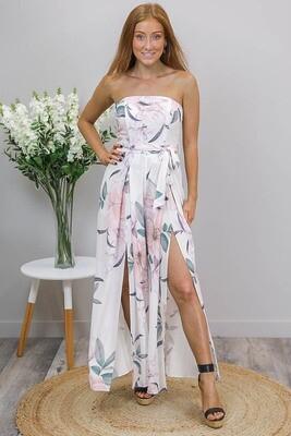 Julieanne Jumpsuit - White/Blush Bloom