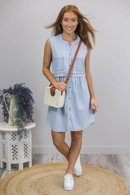 Sarafina Sleeveless Chambray Dress - Light Denim
