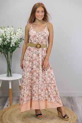Sandra Singlet Maxi Dress - Apricot/Blush Fleur