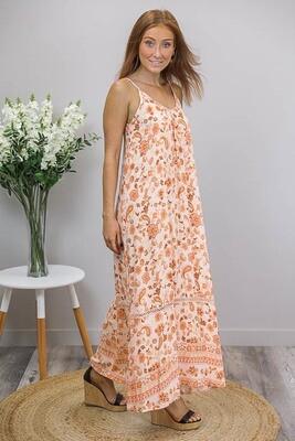 Sandra Singlet Maxi Dress - Apricot/Peach Paisley Fleur