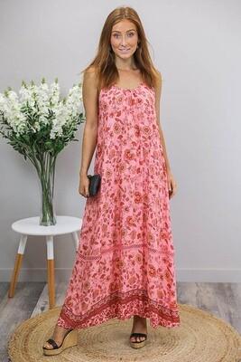Sandra Singlet Maxi Dress - Coral/Rust Fleur