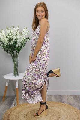 Sandra Singlet Maxi Dress - Cream/Lavender Fleur