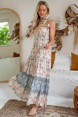Berri Tassel Tie Maxi Dress - Latte/Blush Flower