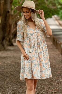 Cheska BoHo Tassel Miniish Dress - Ivory/Apricot Bloom