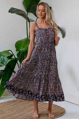 Hello Dolly BoHo Singlet Midi Dress - Navy/Blue Fleur
