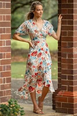 Zelda Wrap Hi Lo Maxi Dress - Ivory/Rust Blue Bloom