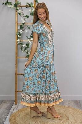 Chateau S/S BoHo Maxi Dress - Boston Blue/Caramel Fleur