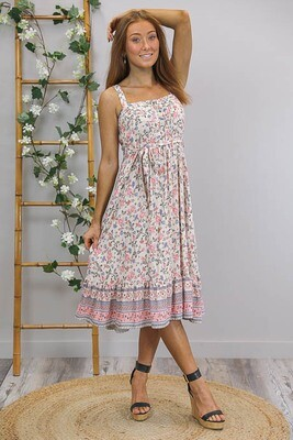 Colbie Singlet Midi Dress - Cream/Periwinkle Floral