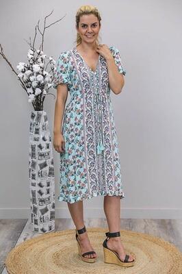 Chantelle S/S BoHo Midi Dress - Sky Blue/Orange Floral