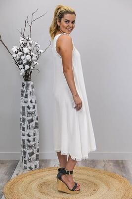 Dahlia Fray Midi Dress - White
