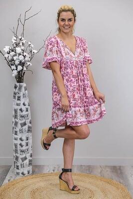 Challet Frill S/S Miniish Dress - Blush/Purple Fleur