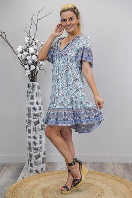 Challet Frill S/S Miniish Dress - Sky Blue/Lavender Floral Paisley