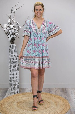 Challet Frill S/S Miniish Dress - Aqua/Pink Bloom