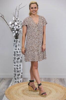 Champers Button Miniish Dress - White/Tan Leo