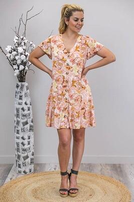 Champers Button Miniish Dress - Cream/Yellow/Blush Fleur
