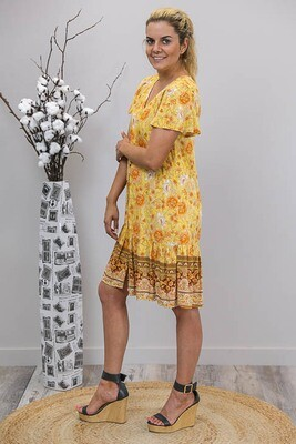 Champers Button Miniish Dress - Mustard/Orange Fleur