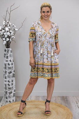 Cheska BoHo Tassel Miniish Dress - Periwinkle/Mustard Fleur