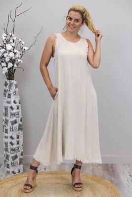 Dahlia Fray Midi Dress - Natural