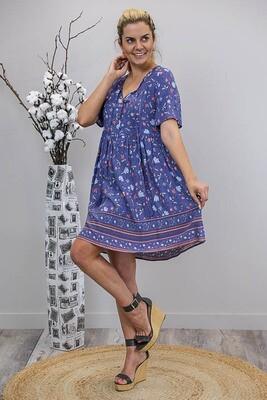 Betsy Baby Doll Tassel Dress - Dark Mauve/Blue Fleur