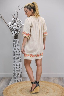 Connie BoHo Embroidered Dress - Natural