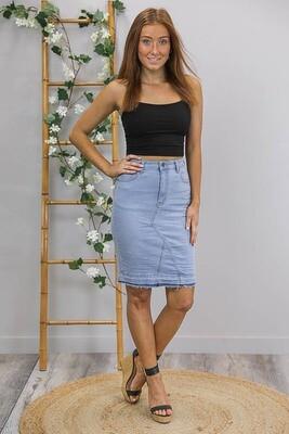 Tazzie Teased Knee Length Skirt - Light Denim