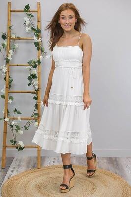 Californian Dreaming Frill Midi Dress - Ivory