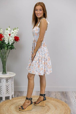 Kerri Tassel Tie Mini Dress - Ivory/Pale Orange Bloom