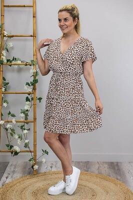 Isla Crossover Frill S/S Miniish Dress - White/Tan Leo