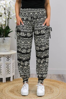Harem Pants - Black/Latte Elephant