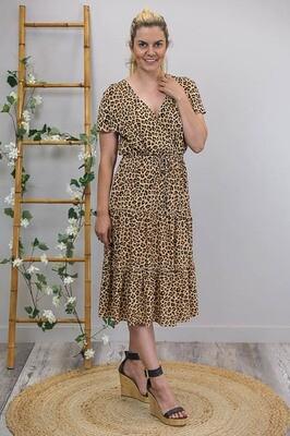 Isla Crossover Frill S/S Midi Dress - Tan/Leo