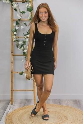 Caz Rib Scoop Mini Dress - Black