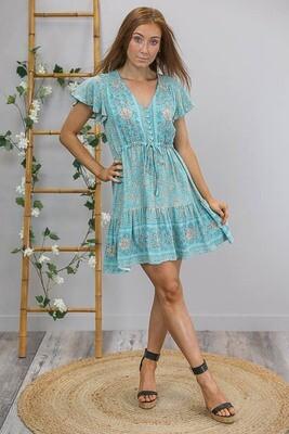 Chateau S/S BoHo Mini Dress - Teal/Bronze Fleur