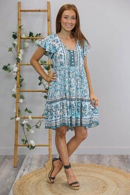 Jorja S/S Miniish Dress - Aqua/Turquoise Floral