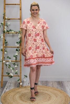 Champers Button Miniish Dress - Apricot/Coral Fleur
