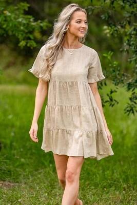 Baker Button Back Tier Dress - Natural Linen blend
