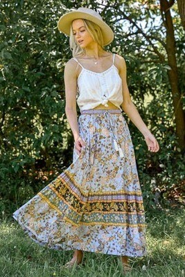 Hyawatha Maxi Skirt - Periwinkle/Mustard Fleur