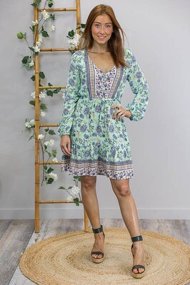 Charlotte L/S Miniish Dress - Mint/Blue Paisley Fleur