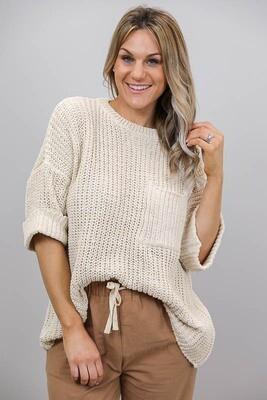 Chenille Oversize S/S Knit Jumper - Sand