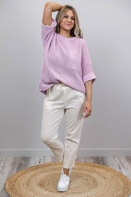 Chenille Oversize S/S Knit Jumper - Baby Mauve