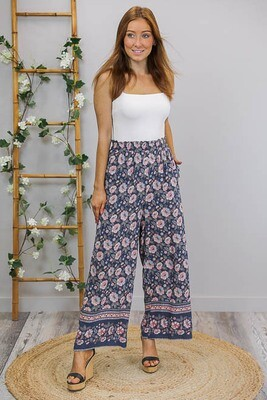 Willow Culotte Pants - Navy/Blush Bloom