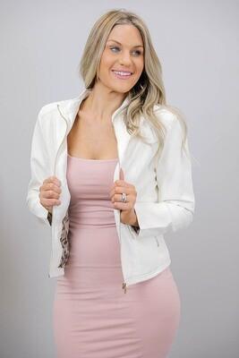 Binky Biker PU Leather Jacket - White