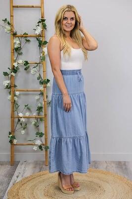 Suzi Drawstring Tier Maxi Skirt - Mid Denim