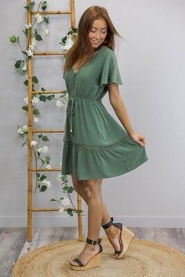 Robin Lace Trim Mini Dress - Forest Green