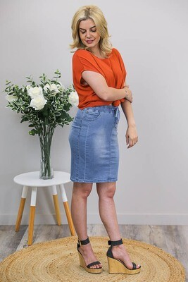 Burraneer Drawstring Knee Skirt - Mid Denim