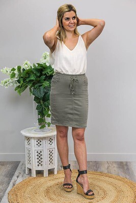Burraneer Drawstring Knee Skirt - Khaki